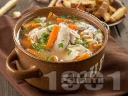 Супа / чорба от пилешки фенери с картофи и зеленчуци и застройка - снимка на рецептата